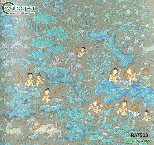 วอลเปเปอร์ลายไทยกินรี-กินนรในป่าหิมพานต์3