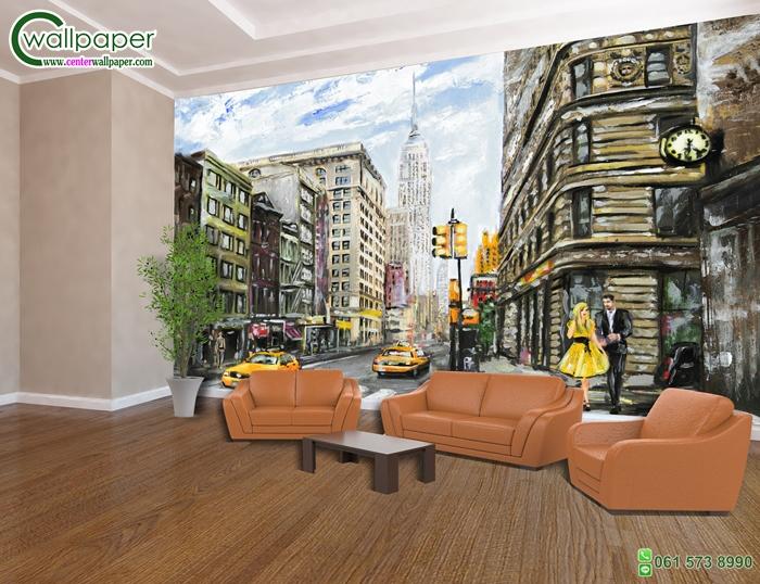 วอลเปเปอร์ติดผนังภาพวิวภาพวาดเมืองนิวยอร์ค (new york city)