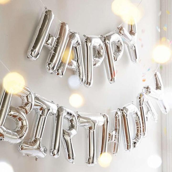 ลูกโป่งฟอยล์ตัวอักษร HAPPY BIRTHDAY (สีเงิน)