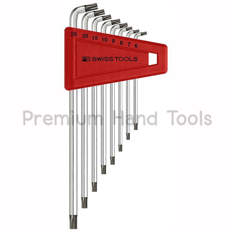 หกเหลี่ยมชุด PB Swiss Tools หัวดาว TORX ยาว/ไม่มีรู รุ่น PB 2411.H 6-25 หัวทำมุม 100 องศา (8 ตัว/ชุด)