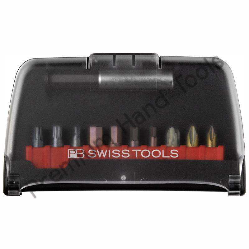 ชุดดอกไขควง PB Swiss Tools แกนสั้นพร้อมข้อต่อ รุ่น PB C6 985/986/989 ปากแบน ปากแฉก หัวดาว หกเหลี่ยม PZ (10 ดอก/ชุด)