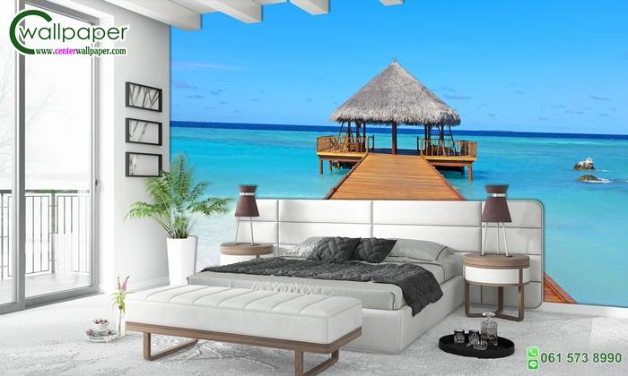 วอลเปเปอร์ติดผนังภาพวิวท่าเทียบเรือเกาะมัลดีฟส์ (Maldives)
