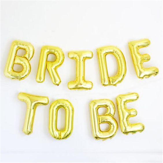 ลูกโป่งฟอยล์ตัวอักษร BRIDE TO BE (สีทอง) (อุปกรณ์งานปาร์ตี้สละโลด Hen Night Party)