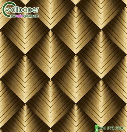วอลเปเปอร์ติดผนังลายกราฟฟิก3D สีทอง