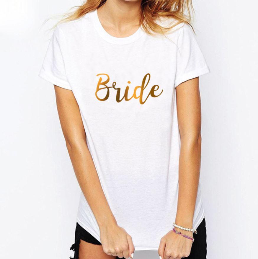 BRIDE Shirt (White & Gold)