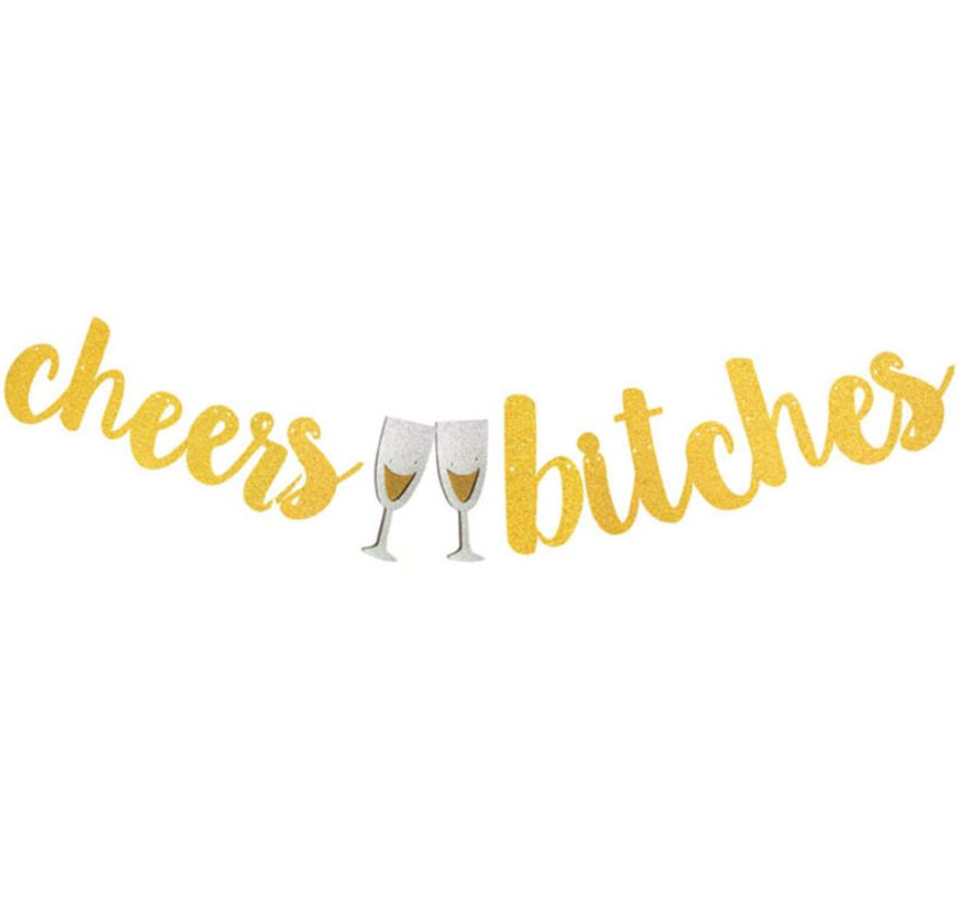 CHEERS BITCHES Handwriting Glitter Flag (Gold)