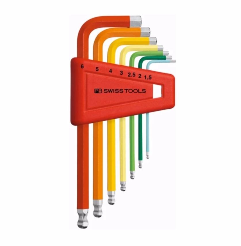 หกเหลี่ยมชุด PB Swiss Tools หัวบอล สั้น รุ่น PB 212 H-6 RB สีรุ้ง ขนาด 1.5-6 MM. (7 ตัว/ชุด)