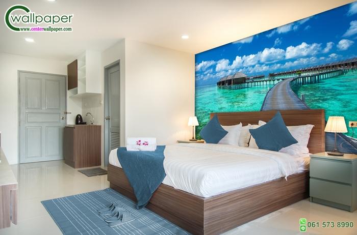 วอลเปเปอร์ติดผนังภาพวิวบังกาโลเกาะมัลดีฟส์ (maldives)