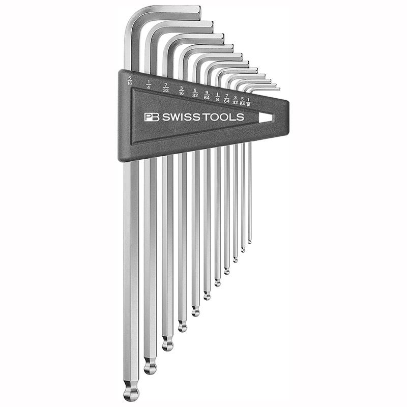หกเหลี่ยมชุด PB Swiss Tools หัวบอล ยาว รุ่น 212 ZLH-12 เบอร์ 1/20 - 5/16 นิ้ว (12 ตัว/ชุด)