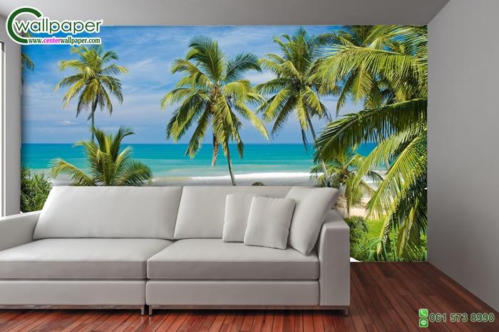วอลเปเปอร์ติดผนังภาพวิวชายหาดและต้นมะพร้าว