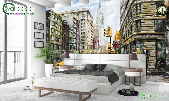 วอลเปเปอร์ติดผนังภาพวิวภาพวาดเมืองนิวยอร์ค