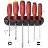 ชุดไขควง PB Swiss Tools รุ่น PB 8244 ด้ามยาง ปากแบนและแฉก พร้อมที่ติดผนัง (6 ตัว/ชุด)