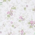 วอลเปเปอร์ดอกไม้วินเทจกุหลาบม่วงพื้นขาว