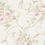 วอลเปเปอร์ดอกไม้วินเทจกุหลาบพื้นขาวครีม