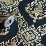 wallpaper ลายไทย เทพพนม สีดำ-ทอง