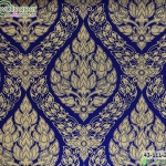 wallpaper ลายไทยห้องพระ ลายพุ่มข้าวบิณฑ์สีน้ำเงิน