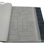 Wallpaper ลายกราฟฟิก เส้นสี่เหลี่ยมสีเทาพื้นครีม