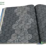 วอลเปเปอร์ลายกราฟฟิก สี่เหลี่ยม3Dสีดำอมเขียว