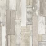 Wallpaper ลายไม้ระแนงแนวตั้งสีน้ำตาลครีม