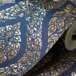 wallpaper ลายไทย ลายพุ่มข้าวบิณฑ์ สีน้ำเงิน-ทอง