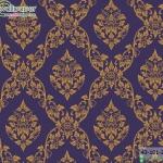 wallpaper ลายไทยห้องพระ ลายพุดตานสีน้ำเงิน
