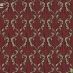 Wallpaper ลายหลุยส์ลายทางใบไม้พื้นแดง