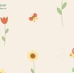 วอลเปเปอร์ติดผนัง ดอกไม้พื้นสีครีม