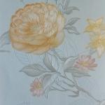 วอลเปเปอร์ดอกไม้วินเทจดอกเหลืองพื้นฟ้า
