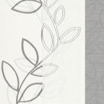 วอลเปเปอร์ติดผนัง wallpaper ลายใบไม้ สีเทาพื้นขาว