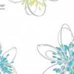 วอลเปเปอร์ดอกไม้ลายเส้นสีฟ้า เขียว