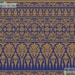 wallpaper ลายไทยห้องพระ ลายกรวยเชิงพุดตานสีน้ำเงิน