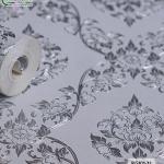 wallpaper ลายไทย ดอกพุดตาล สีเงิน