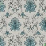 Wallpaper ลายดอกไม้,ใบไม้คลาสสิคสีฟ้า ขาว
