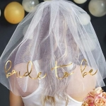 BRIDE TO BE Gold Foil Veil