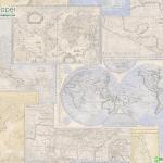 วอลเปเปอร์ลายตัวอักษร แผนที่โลกสีเหลืองครีม