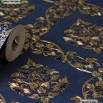 wallpaper ลายไทย ดอกพุดตาล สีน้ำเงิน-ทอง