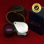 กล้องส่องพระ Leika 10x18mm แท้ (บอดี้สีเงินก้านจับสีดำ) แบบไม่หุ้มยาง
