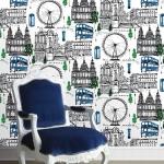Wallpaper ลายตึก-สิ่งปลูกสร้าง เมืองลอนดอนสีฟ้า
