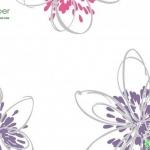วอลเปเปอร์ดอกไม้ลายเส้นสีม่วง ชมพู