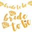 BRIDE TO BE Handwriting Glitter Flag (Gold)