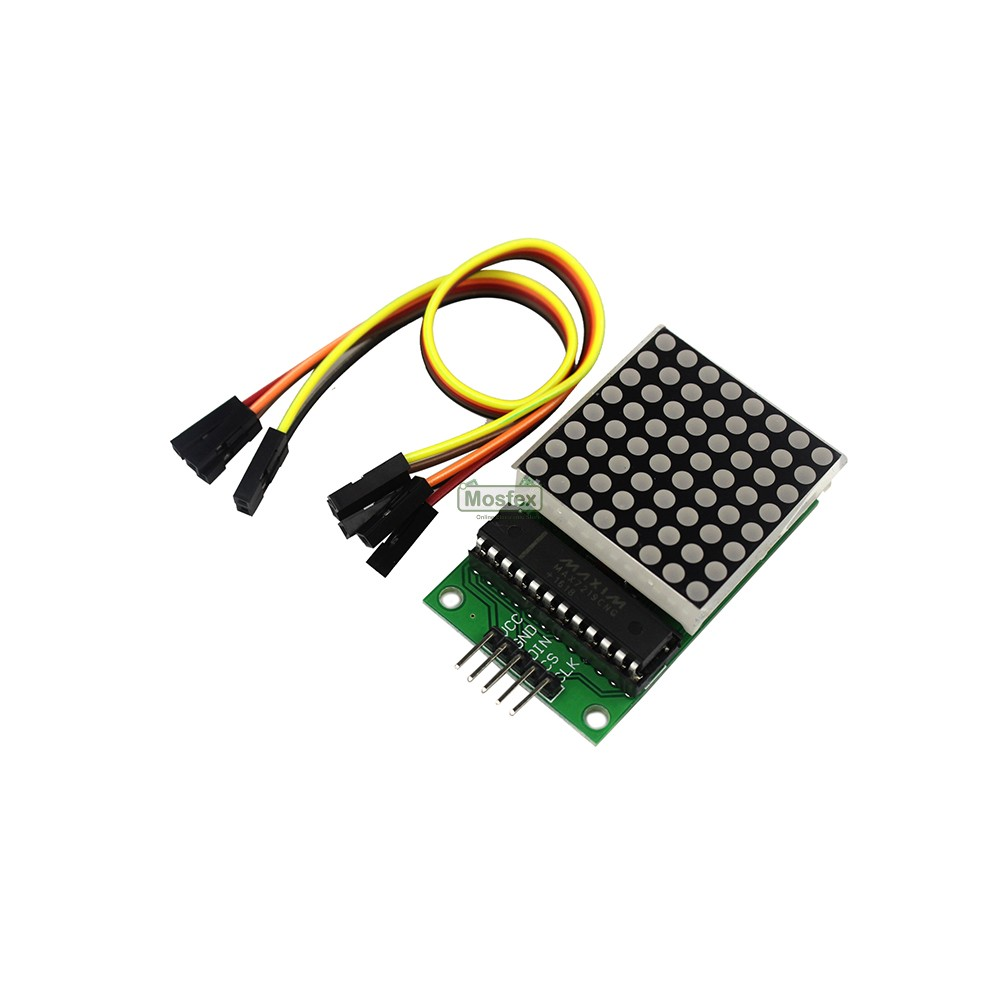 LED Dot Matrix 8x8 40mm x 40mm Driver MAX7219 Module เอลอีดีเมทริกซ์ 8x8  ดวง สีแดง พร้อมสายไฟ