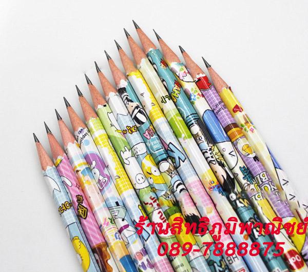 ดินสอ HB ลายการ์ตูน เป็นเหลื่ยม 42บาท/แพค 12ชิ้น/แพค