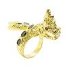 แหวนฟรีไซส์พญานาคประดับพลอยสีนิลชุบทอง