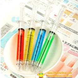 ปากกาเข็มฉีดยา หมึกดำ 108บาท/โหล 12ชิ้น/โหล (หมึกดำ) (มี 2 สี แท่งสีน้ำเงิน/แดง)