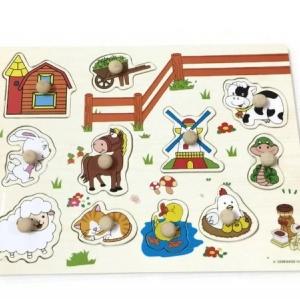 จิ๊กซอว์ไม้หมุด ลาย ฟาร์มสัตว์ มีพื้นหลัง ขนาด 30X20 เซนติเมตร